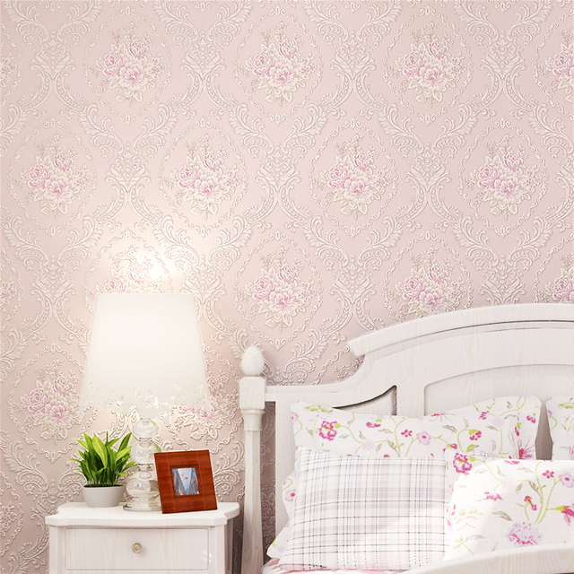European Style 3D Floral Wallpaper Rustic Bedroom Background Wallpapers Non Woven Flower Wall Paper Roll