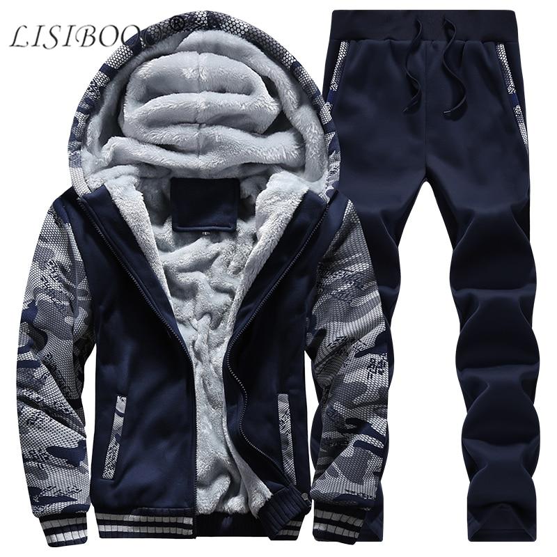 LISIBOOO Men Sets Winter Warm Fleece Sweatshirts Hoodies Pants Camouflage Sleeve Tracksuit Sportwear Suits Casual Men's Coats