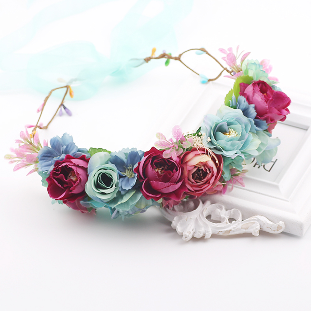 Women Charm Flower Tiara Wedding Floral Headband Hair Accessories Bridal Garland Princess Wreath Girls Crown Headdress party