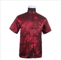 Burgundy New Vintage Chinese Men S Silk Satin Kung Fu Shirt Top With Pocket Size S