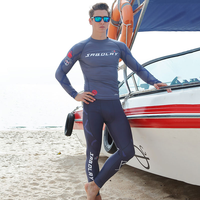 SABOLAY Resist UV Men Surf T Shirt Swimming Pants Tops Scuba Diving Suits Swimwear Watersport Clothing Sports Surfing Swimsuits 2018 new women s postpartum swimwear ladies sunscreen clothing ladies swimwear suit surf clothing diving clothing swimwear vy715