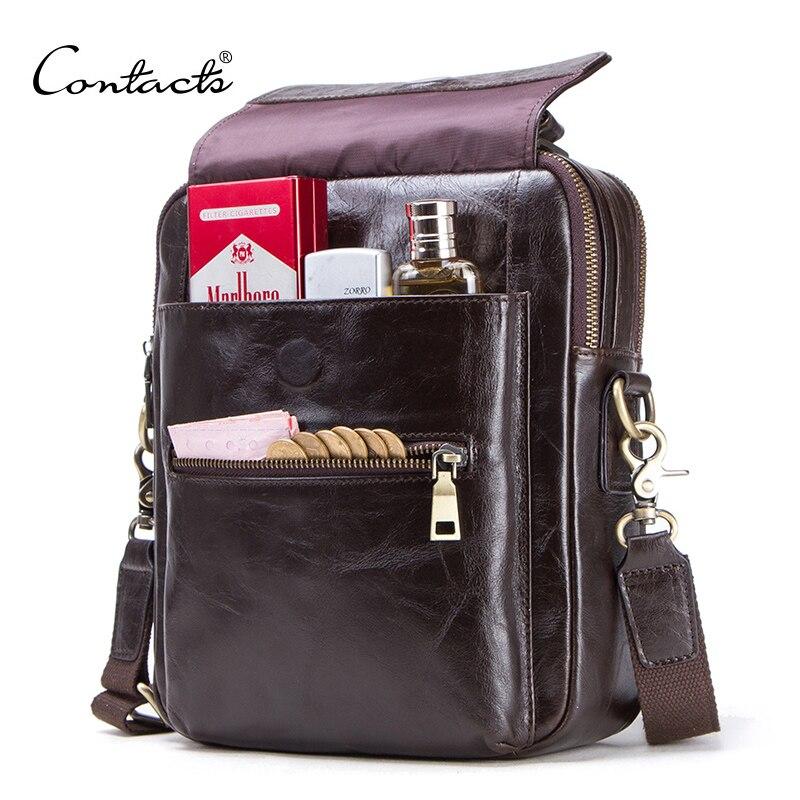 """CONTACT'S nouveau sac messenger en cuir véritable pour hommes décontracté sacs à bandoulière homme sac à rabat marque de luxe sacs à bandoulière pour 9.7 """"Ipad"""