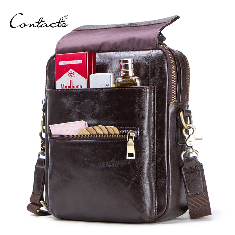 """CONTACT'S new genuine leather messenger bag for men casual shoulder bags male flap bag luxury brand crossbody bags for 9.7"""" Ipad-in Crossbody Bags from Luggage & Bags"""