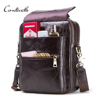 CONTACT'S new genuine leather messenger bag for men casual shoulder bags male flap bag luxury brand crossbody bags for 9.7 Ipad