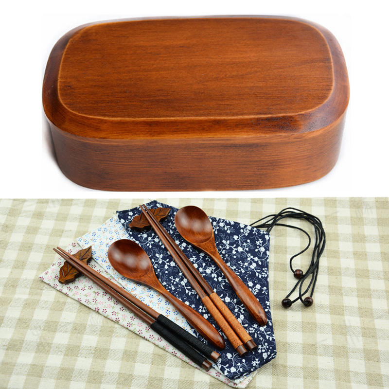 bento box set wooden lunch box handmade natural paint wooden bowl sushi box dinnerware set with. Black Bedroom Furniture Sets. Home Design Ideas