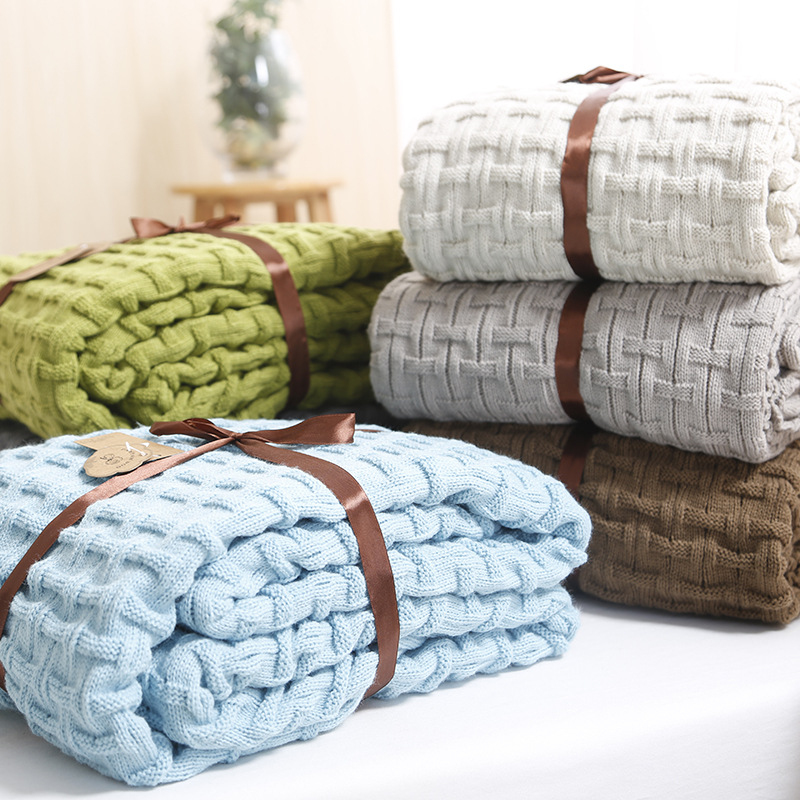 Blanket Sofa Slipcover Throws Pure Color on Sofa/Bed/Plane/office Travel Plaids Rectangular Stitching Blankets  american lattice blanket sofa decorative slipcover throws on sofa bed plane travel plaids rectangular color stitching blankets