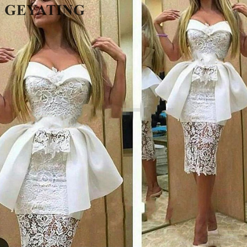 Sexy White Lace Short Cocktail Dresses 2019 Vestido De Festa Curto Sweetheart Tea Length Sheath Evening Party Dress With Peplum