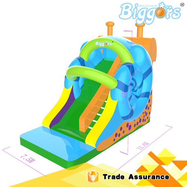 Inflável Biggors Inflável Slide Grande Caracol Novo Design PVC Casa do Salto Crianças Parque de Diversões