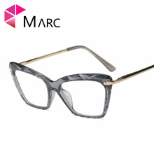 MARC WOMEN 2018NEW Optical Black glasses Plain Transparent glass spectacles fashion Red Glasses Frame floral Cat 97533