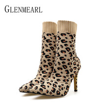 Women Boots Winter Shoes High Heels Sexy Leopard Print Woman Ankle Boots Pointed Toe Slip On Brand Female Casual Shoes Knitting fedonas brand socks boots women high heels round toe party weddding shoes woman autumn winter high slip on stretch boots pumps