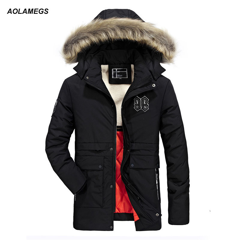 Aolamegs Winter Jacket Men Hooded Fur Collar Thick Warm Coat Outdoors Windproof Outerwear Male Parkas Jackets Detachable Hat 3XL