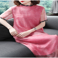 Summer women's imitation silk round neck embroidered edge five cent sleeve loose mid long red high class dress