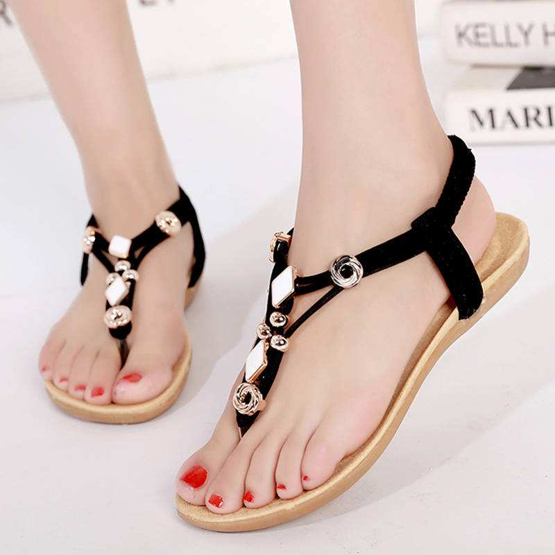 LAKESHI Women sandals 2018 new Flats Sandals Women Summer Women Shoes Bohemia Style Flip Flops Beach Shoes Women's стоимость