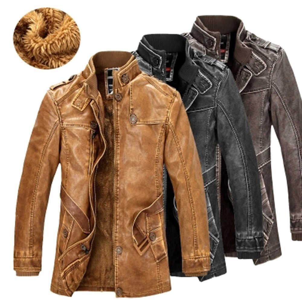 Зимняя мужская куртка из искусственной кожи, куртки мотоциклиста, теплая верхняя одежда из плотного флиса, приталенное мужское кожаное пальто, брендовая одежда SA557