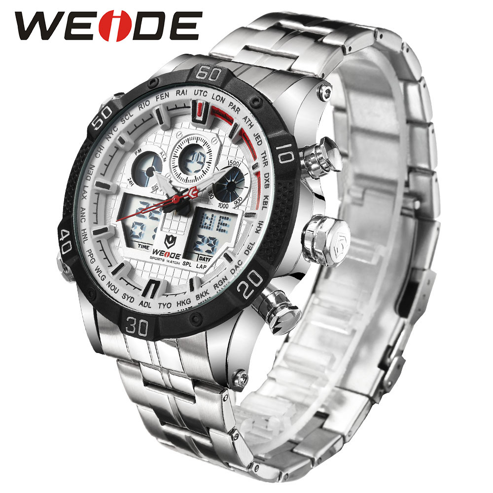 WEIDE Quartz Sports Wrist Watch Casual Genuine 2017 Men Watches Brand Luxury Men watch stainless steel date digital led watch 2017 luxury brand binger date genuine steel strap waterproof casual quartz watches men sports wrist watch male luminous clock