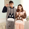 GOPLUS New Winter Totoro Flannel Couple Pajama Sets Adult Onesie Pyjamas For Women/Men/Femme Adult Footed Pajamas Sleepwear
