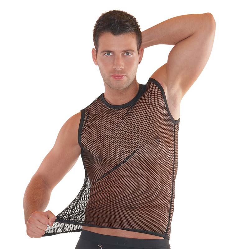 New 2019 Sexy Fashion Fishnet Mesh   Tank     Tops   For Men Clothes Vest Transparent Fetish Male Guy Black Sleeveless Net   Top   Clothing