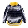 Gola alta meninos t-shirt Tops Crianças T-shirt Do Bebê Menina meninos Blusa de inverno de lã de gola alta manga Comprida t camisas listradas camisas