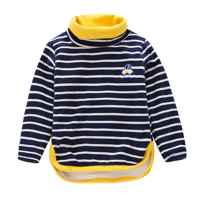 High collar boys tees Tops Children T-shirt Baby Girl turtleneck Long sleeve fleece t shirts striped Blouse boys winter shirts