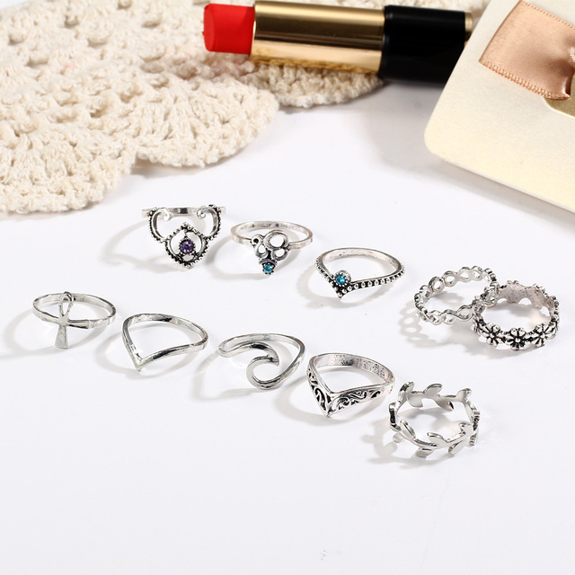 10pcs/Set Antique Silver Color Rhinestone Rings 3