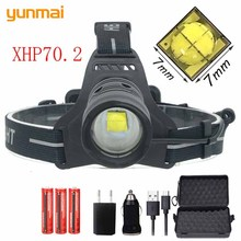 2019 NEW superbright Original XHP70.2 LED 30W zoomable Led headlamp 5000lm  powerful head lamp flashlight lantern for running