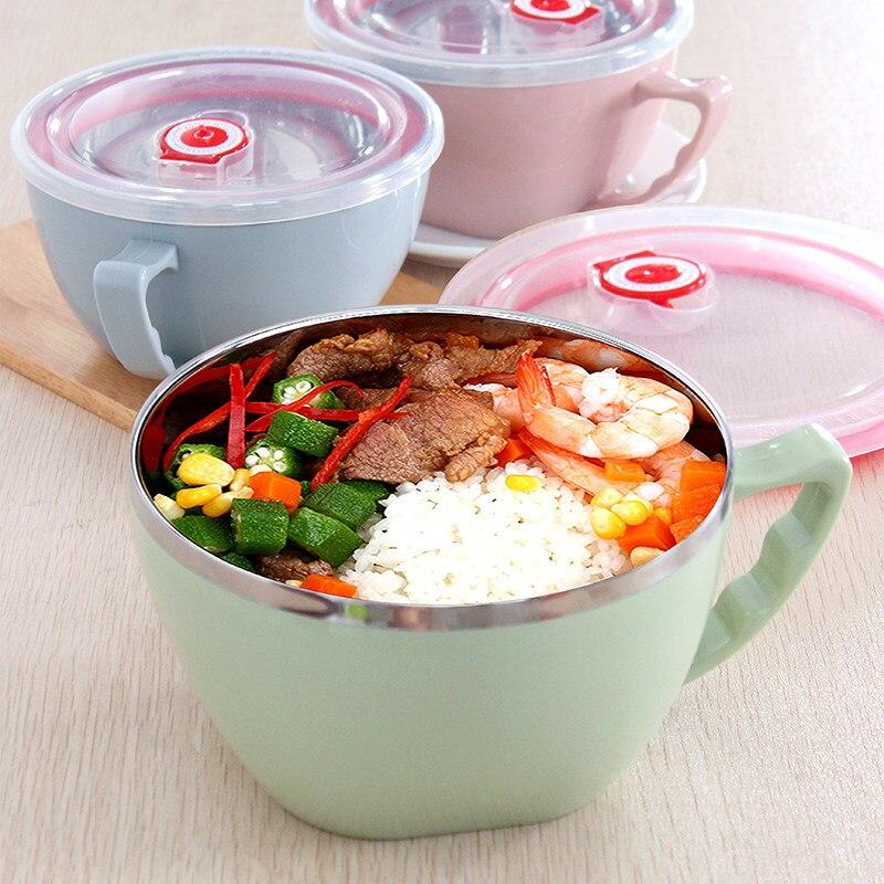 900 ml En Acier Inoxydable Bols Nouilles Instantanées Bol avec Poignée De Bouchon Riz Fruits Salades Bol avec Date Rappel Récipient de Nourriture