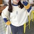 Harajuku otoño invierno mujeres sudadera pullover solid batwing manga floja ocasional ulzzang estilo Costura bordado sudaderas con capucha