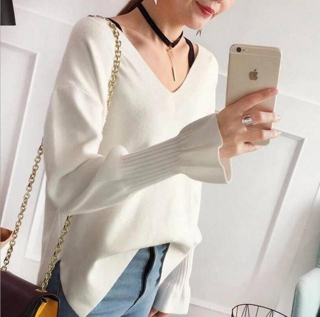 2018 women's sweater winter v-neck candy color  loose wool warm pullovers blouse
