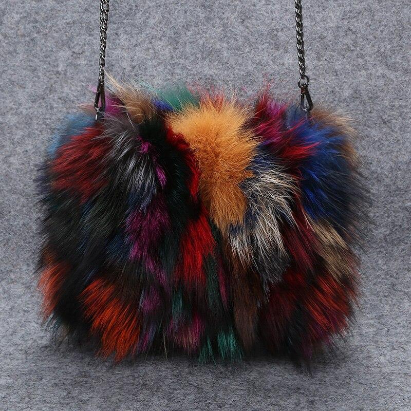 Natura futra lisa torby dla kobiet 2019 Mix kolor futro dzień sprzęgła torebka zima torebki damskie luksusowe łańcuchy torba Crossbody bolsa w Torby z uchwytem od Bagaże i torby na  Grupa 3