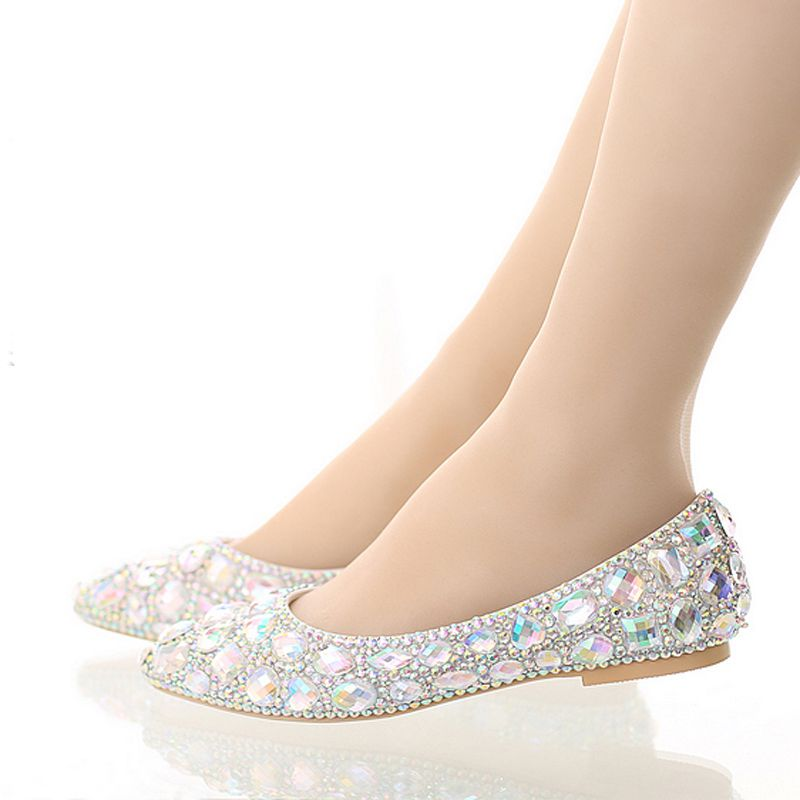 Luxury Pointed toe bridal shoes colorful rhinestone flat shoes shallow mouth flat heel wedding shoes crystal