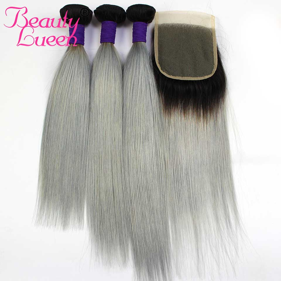 T1B Grey Brazilian Hair Bundles With Closure Ombre Color Two Tone Straight Ombre Hair Bundles With