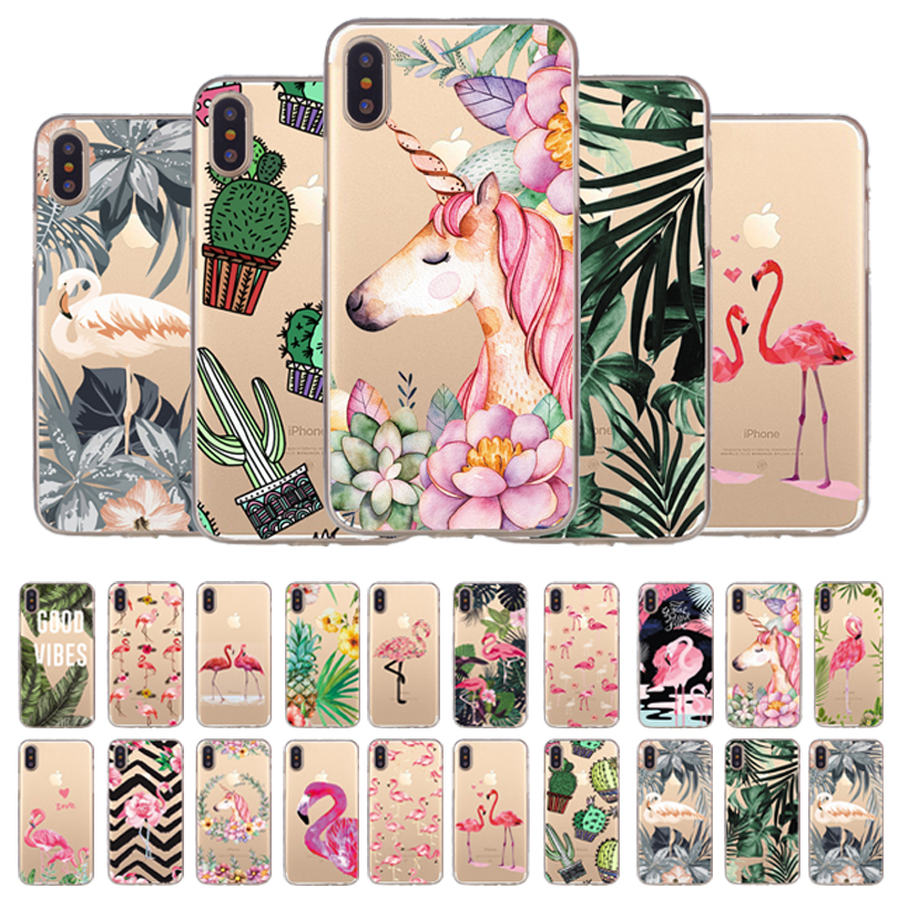 Galleria fotografica Silicone Case For iPhone 7 7Plus 6 6S 6Plus 5 5S SE Case Soft TPU Cover Flower Leaves Bird For iPhone 6S 8Plus X XS Max Newest