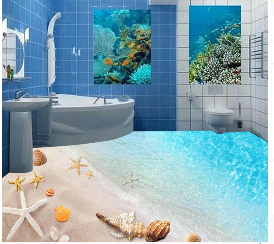 3d piso pintura papel pintado playa conchas y estrellas 3d for Suelo pvc autoadhesivo