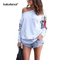 נשים עלו להדפיס Kakaforsa חורי שרוול ארוך מזדמן רופף סתיו אופנה צמרות חולצת טי גרפי Tees חולצת T כתף אחת סקסית