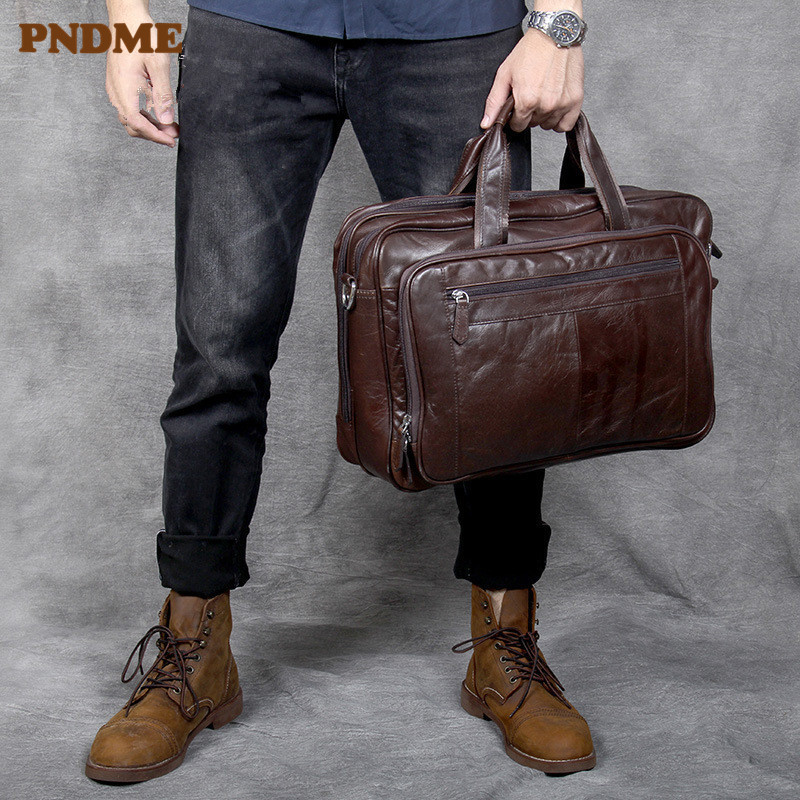 PNDME High Quality Large Capacity Genuine Leather Men's Briefcase Retro Simple Soft Cowhide Shoulder Travel Bag Laptop Bag