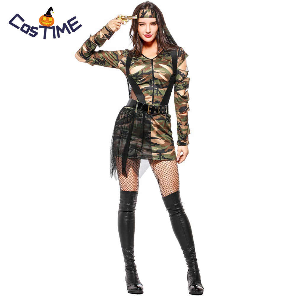Womens Army Girl Costume Soldier Fancy Dress Roleplay Outfit Camouflage Style