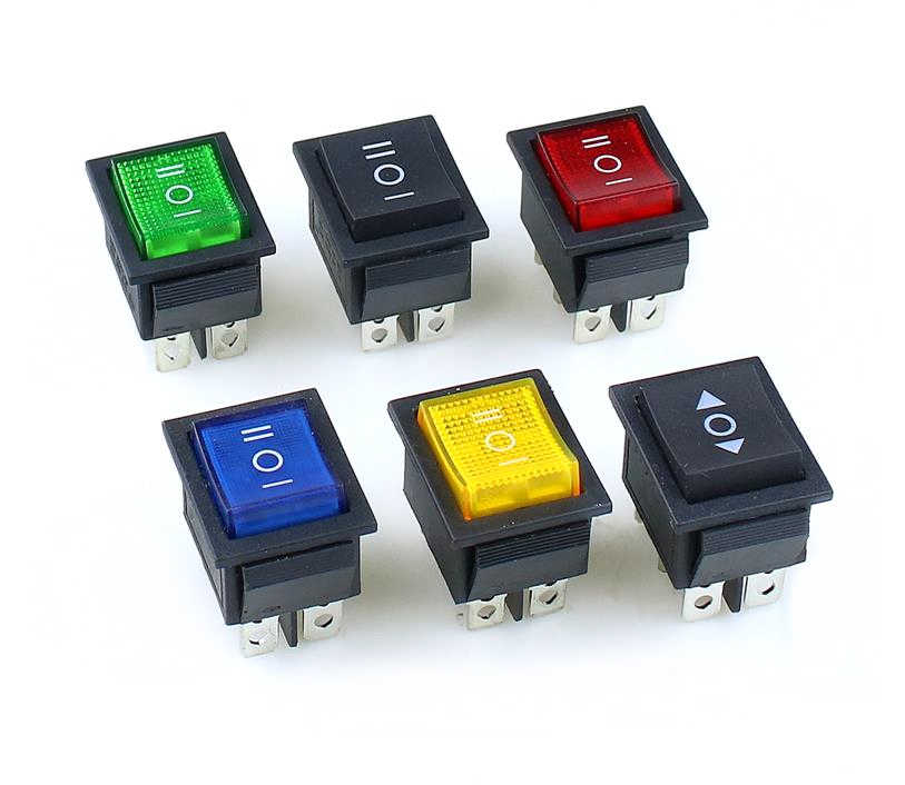 KCD4 Rocker Switch Power Switch On-Off-ON 6 Pin dengan Lampu 16A 250VAC/20A 125VAC 1 Pcs