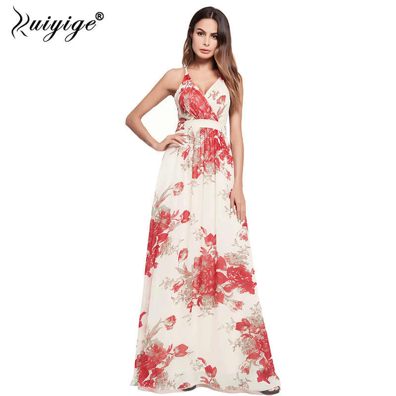 1adc5ca851cf5 Ruiyige 2018 Summer Boho Women Floral Print Long Dress Backless Beach  Strapless Sexy Party Boho Sundress Lining Maxi Vestidos