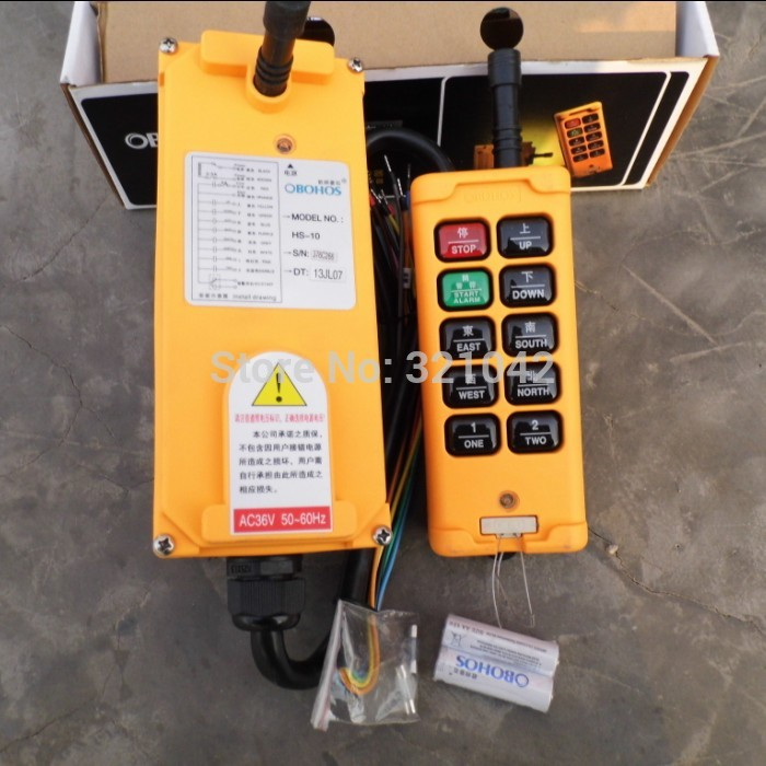 HS-10 Industrial Remote Control Crane Transmitter 10 keys 1 receiver+ 1 transmitter AC 380V 12v 24v hs 10 industrial remote control crane transmitter 1pcs transmitter and 1pcs receiver