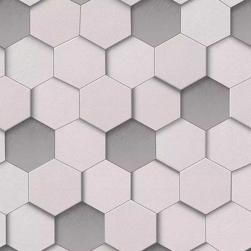 3d Modern Geometric Wall Paper Roll For Walls Vinyl Waterproof 3d Grid Wallpapers Pvc Hexagon Background Wallpaper Grey Yellow