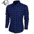 COOFANDY Camisa Homens Marca de Moda Camisas De Manga Longa Xadrez Patchwork Contraste Bolso Slim Fit Algodão Camisas casuais Masculinos