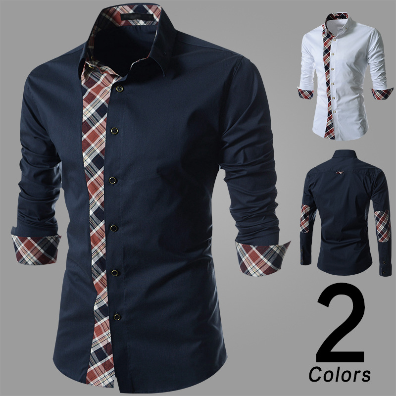 eb762d2edce42 EBay hot spring new Korean fashion slim lace Plaid long sleeved shirt men's  casual shirt metrosexual man-in Casual Shirts from Men's Clothing on ...