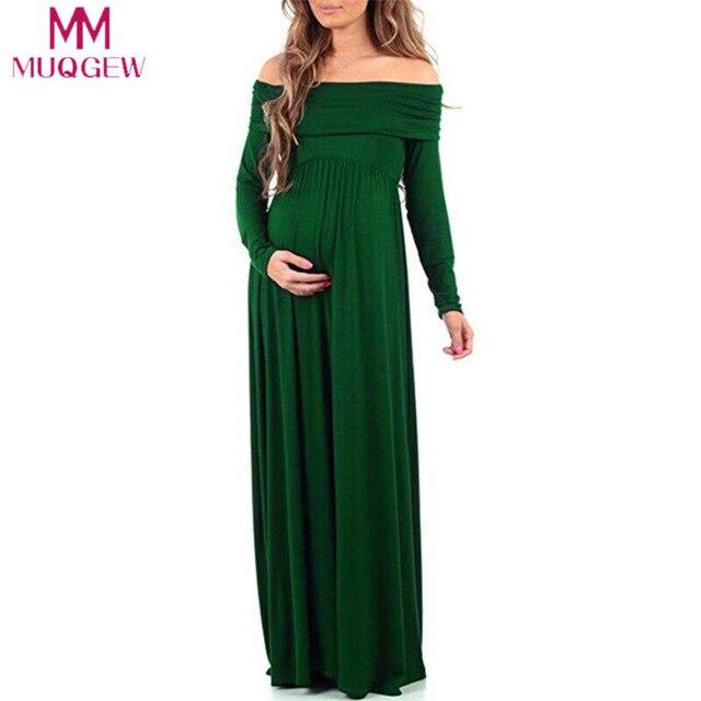 619c399109 Women Cowl Neck Sexy Photography Props Off Shoulders Long Sleeve Maternity  Nursing Dress Maxi Pregnant Dress Photo Shoot vestido