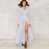 Long Sleeve Light Blue Maxi Wrap Dresses Women V Neck Draped High Slit Sexy Bohemian Dress
