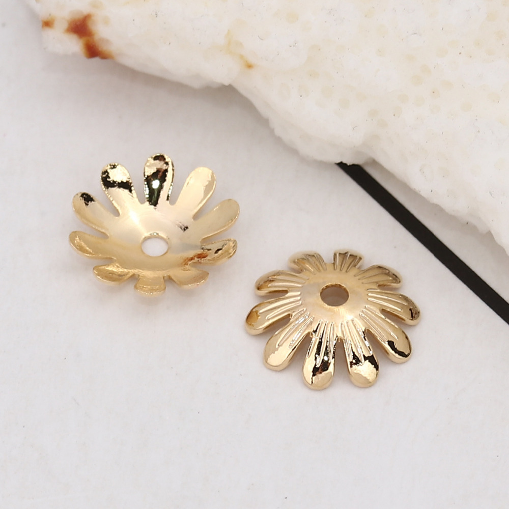 DoreenBeads Copper Beads Caps Flower Gold Silver Jewelry Accessories (Fit Size: 12mm Dia.) 10mm( 3/8