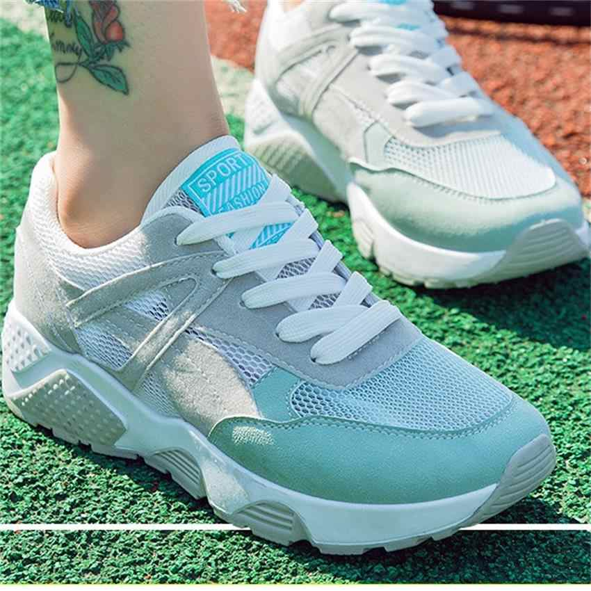 Frauen sport im freien laufschuhe weibliche mädchen student jogging gym training schuhe atmungsaktives mesh laufschuhe turnschuhe frauen