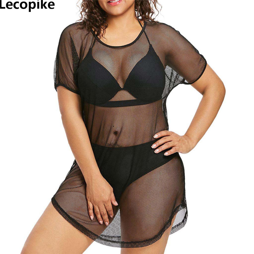 Lecopike Women Dress Plus size 5XL Summer O-<font><b>Neck</b></font> <font><b>Bikini</b></font> Cover Up Swimwear Bathing <font><b>Sexy</b></font> Mesh Beach Dress See through Sundress A20 image