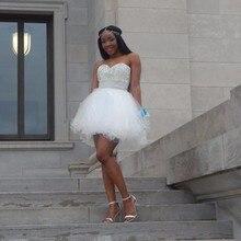 Prinzessin Hot Liebsten Perlen Mit Strass Eine Linie Weiß Mini Sleeveless Mädchen Homecoming Kleider 2016 robe de cocktail