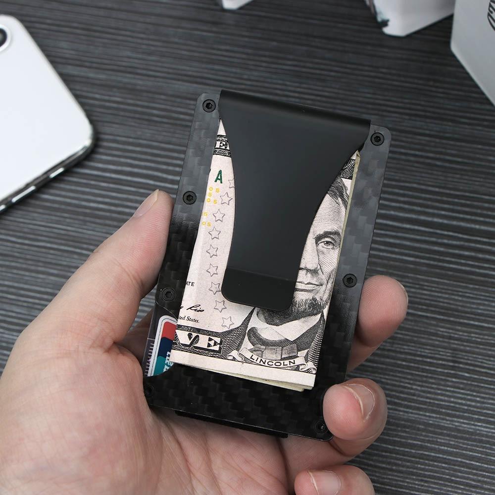 Ridge Wallet Credit Card Holder Carbon Fiber Money Clip Minimalist Front Pocket Slim Metal Money Clip Purse Credit Card Holder sticker