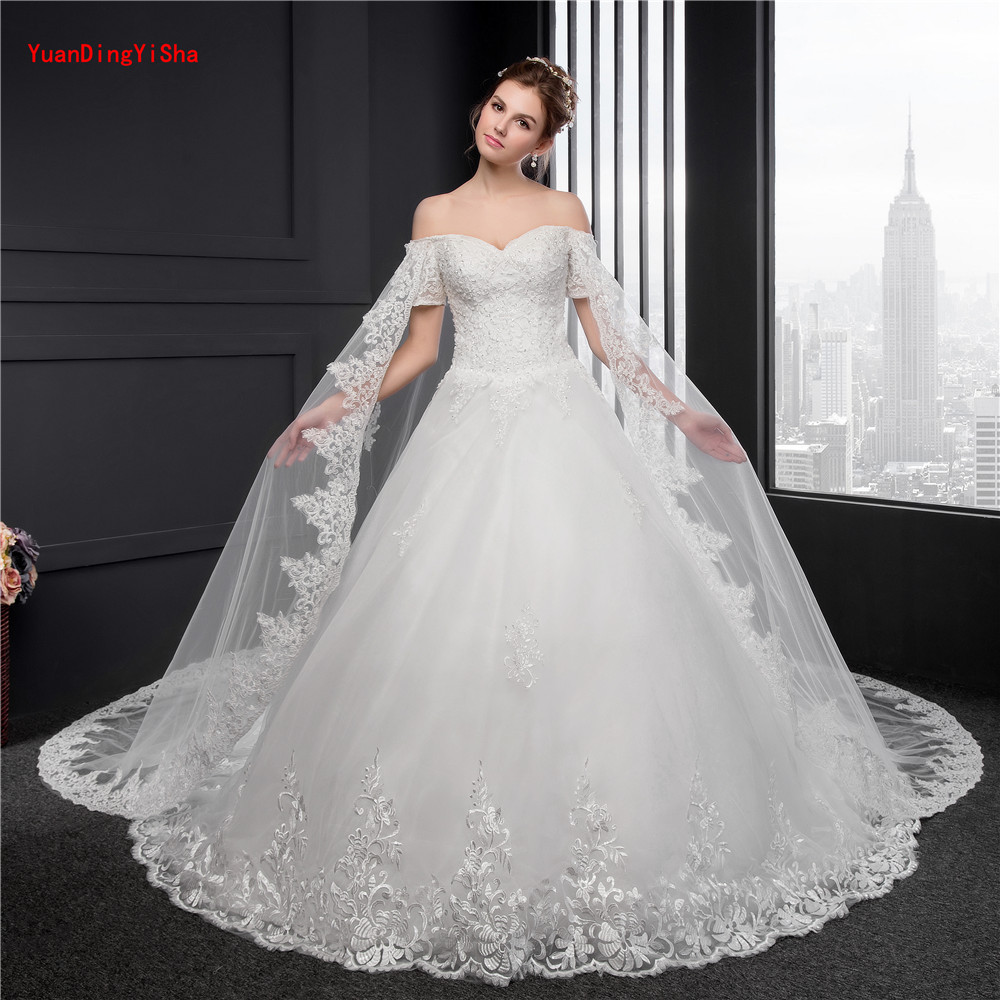 Big Train Lace Wedding Gowns Short Sleeve Customized Ball gown ...